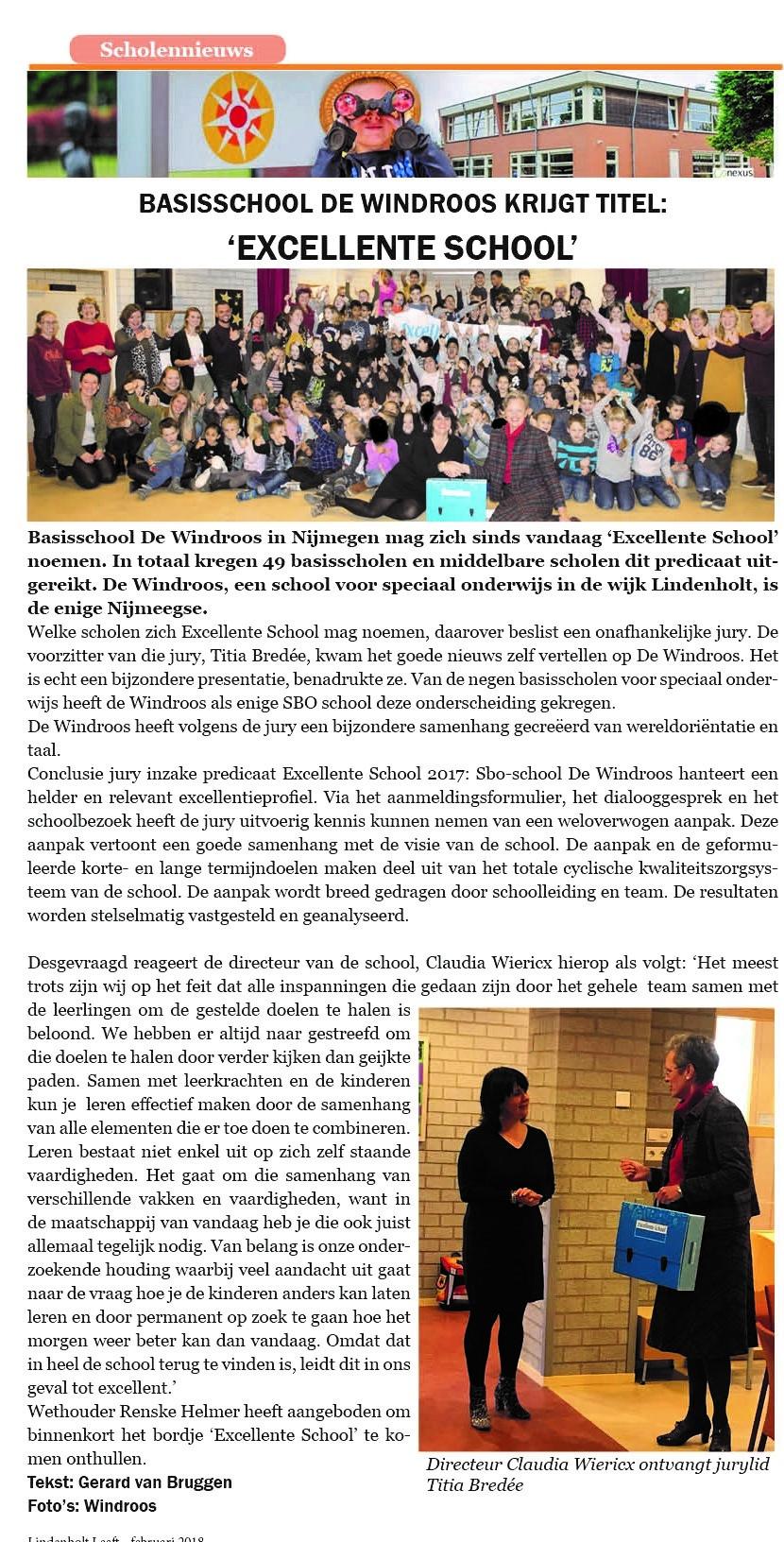 Basisschool de Windroos Lindenholt krijgt titel 'Excellente school'