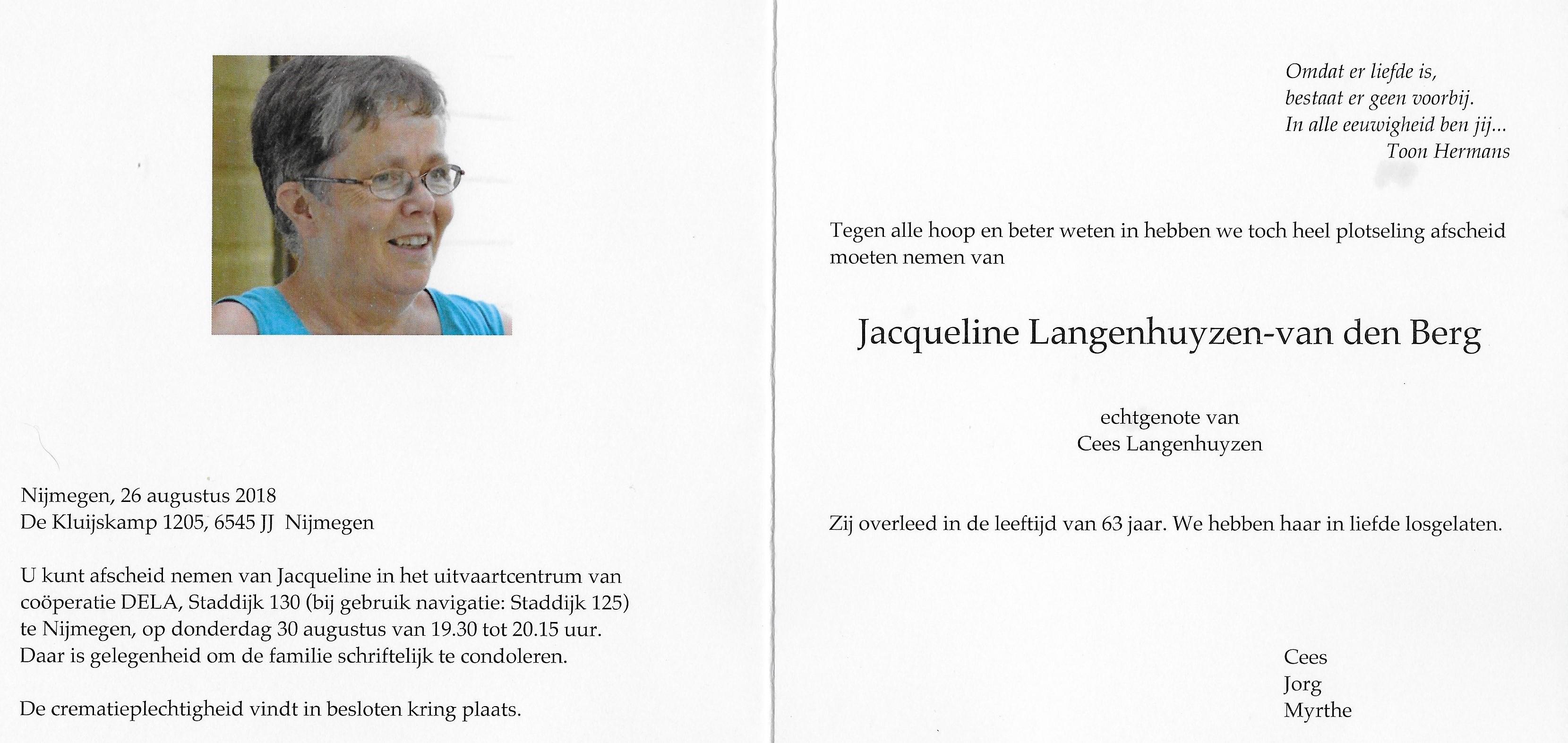 in memoriam Jacqueline Langenhuyzen