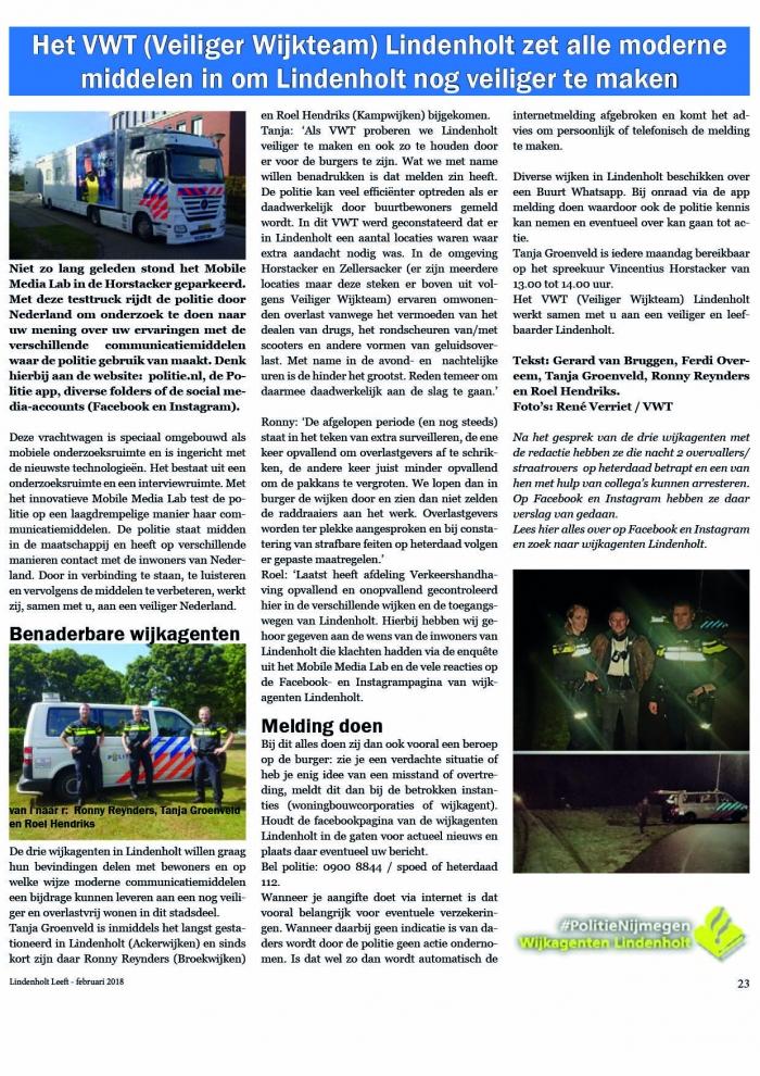 Het VWT (Veiliger Wijkteam) Lindenholt zet alle moderne middelen in om Lindenholt nog veiliger te maken